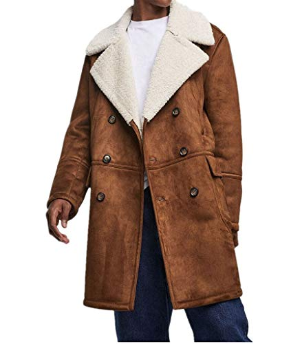 Luxfan Men Winter Lapel Neck Double Breasted Faux Fur Shearling Lined Long Suede Jacket Coat (Brown, XL)