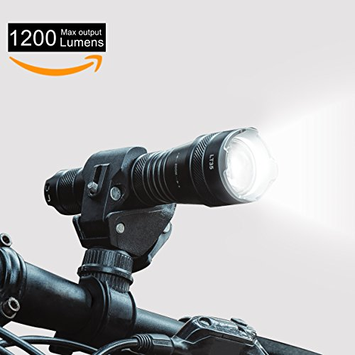 Flashlight WUBEN Waterproof 1200 Lumens CREE LED Rechargeable Battery and Zoom Maximum Spotlight and Floodlight LT35 LED 5 Light Mode Black flashlight with clip, - Eye Reflectors Cats