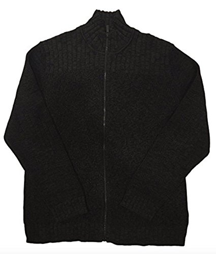 Calvin Klein Cardigan Ribbed (Calvin Klein Full Zip Cable Knit Ribbed Sweater for Men (M, Charcoal Gray))