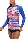 maysoul Women Long Sleeve Rash Guard Print Swim Shirts UV Swimwear Athletic Tops S