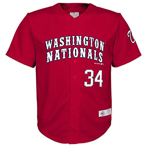 MLB Washington Nationals Boys Player Harper Fashion Jersey , Athletic Red, 16/18 (Nationals Player Washington)