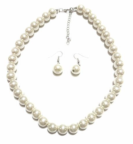 White Pearl Necklace (Large Faux Pearl Necklace and earring set By Millennium Design)