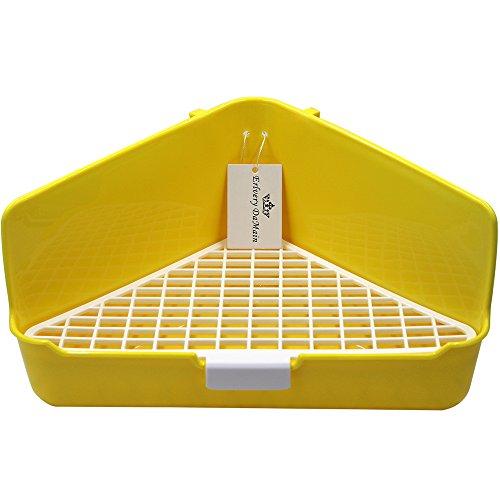 (Erlvery DaMain Large Triangle Potty Trainer Corner Litter Bedding Box Pet Pan for Small Animal/rabbit/guinea Pig/galesaur/hamster/ferret (Yellow))