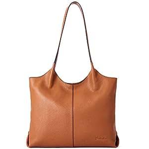 "BOSTANTEN Women Designer Shoulder Tote Handbag Soft Genuine Leather Top-handle Purses - brown - Medium (L)14.0"" x (W)4.1"" x (H)11.0"""