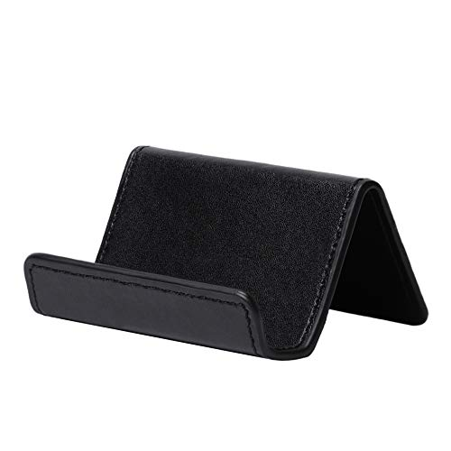 Skeepex Business Card Holder for Desk - Professional PU Leather Business Card Holder for Desk, Home and Office - 3.9 Inch W x 3.2 Inch L x 2 Inch H (Black) - Capacity 100 Business Card