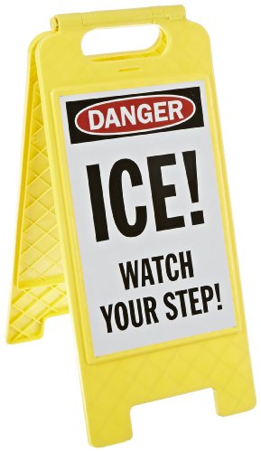 "SmartSign Folding Floor Sign, Legend ""Ice! Watch Your Step!"", 25"" high x 12"" wide, Black/Red on White"