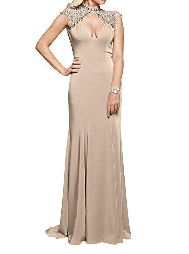 Kleider Partykleider Standsamt Abendkleider La Sexy Festlichkleider Meerjungfrau mia Braut V Lang Champagner Rock Ausschnitt nAw8f