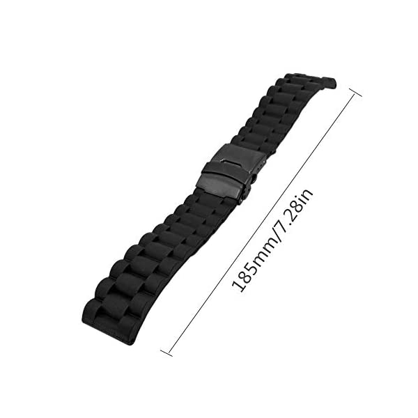 Beauty7 Black Soft Link-Alike Textured Silicone Rubber Watch Band Straps Replacement Bracelet Double-Lock Deployment Clasp