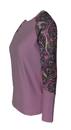 Private Island Hawaii Women UV Wetsuits Long Raglan Sleeve Rash Guard Top Pink with Pink Gold Spot XX-Large by Private Island Hawaii (Image #3)