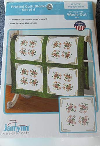 (Janlynn Needlecraft Printed Quilt Blocks - Poppy Garden - 997-1711 - Set of 6 Quilt Blocks - Enough to Complete 1 Lap Quilt)