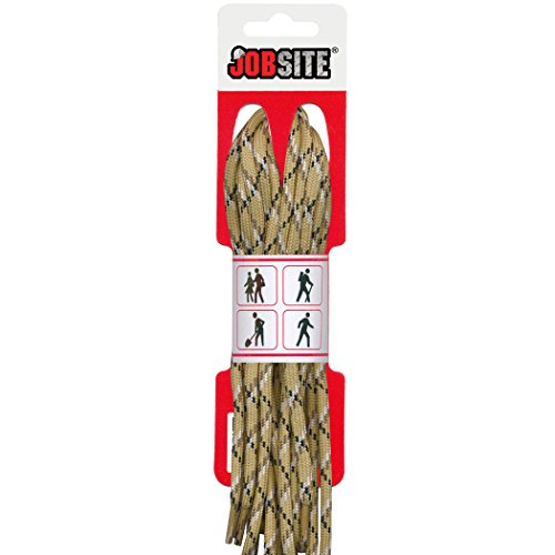 JobSite Ultra Strength Braid Round Boot & Shoe Laces - Multiple Color Options - Shoe Strings for Boots, Shoes, Sneakers, Hiking, Work, Construction, Factory, Sport, Athletic, Arts & Crafts and Everyday Use - 45 inch - Sand Camo (Art Boots)