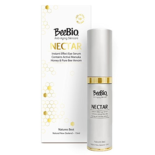 Nectar Bee Venom Eye Serum 0.5oz w/ Active UMF 16+ NZ Manuka Honey - Boost Collagen - Instantly Smooth, Firm & Plump Skin Naturally - BeeBio New Zealand