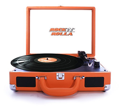 (Rock N Rolla Jr. Portable Briefcase Turntable Vinyl Record Player with USB - Orange)