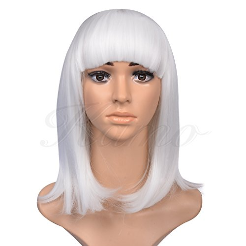 """Kamo 14"""" Supple Neat Bangs Shoulder-Length Straight Women & Girls Cosplay Party Wig (White)"""