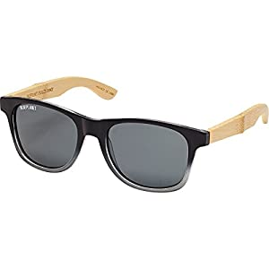 Blue Planet Eyewear Pacific Sunglasses Black To Grey/Natural Bamboo, One Size