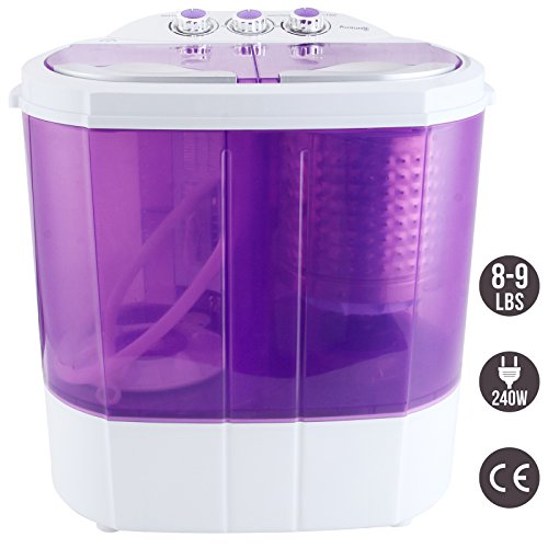Eco Friendly Washing Machine (KUPPET Purple Electric Mini Portable Compact 8-9lbs Capacity Washing Machine Washer Spin Dryer Laundry)