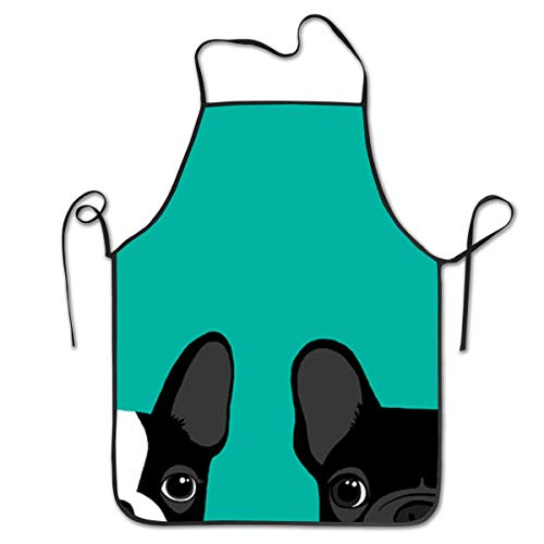 COLOMAKE Boston Terrier and French Bulldog Bib Apron Waterproof Event Party BBQ Cooking Kitchen Aprons for Women Men Adults Chef