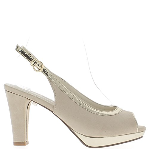 Ante de aspecto de espesor de 9.5 cm de sandalias beige con tacón plataforma y ribete de oro