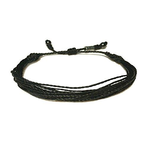 RUMI SUMAQ Black Rope String Bracelet for 6.5-7.5 Inch Wrist : Unisex Handmade Multistrand Pull Cord Adjustable Black Awareness Beach Bracelet for Men and Women