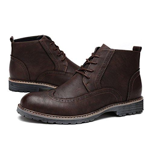 Automne-Hiver Martin de Bottes Brogue Bottine Hommes Chaussures à Lacet Loisirs Mode Brun 78PvDHV