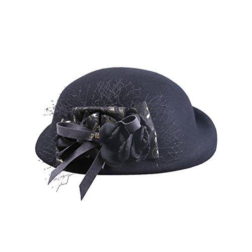 Autumn and winter hat/Ladies mesh vintage tiara beret/Top hat-Black One Size