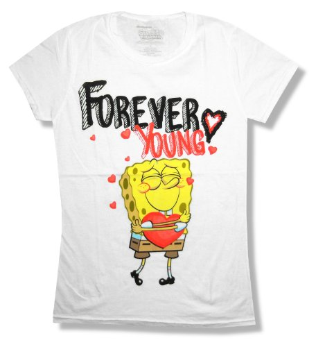 (Spongebob Squarepants Forever Young Girls Juniors White T Shirt (Medium))