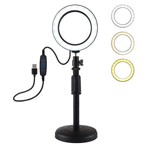 Nesee LED Ring Light,Round Base Desktop Mount + 4.6 inch 3 Modes USB Dimmable LED Ring Vlogging