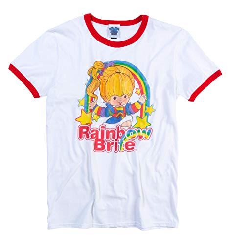 Ringer Rainbow - Mens Rainbow Brite Stars White and Red Ringer T Shirt - 80s Cartoon Tees