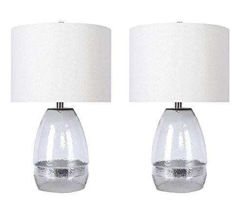 "Grandview Gallery 24"" Clear Crinkle Glass Modern Table Lamp Set with Silver Leaf Bands, Brushed Nickel Metalwork, and Off-White Linen Drum Shades - Versatile Lighting for Any Room (Set of 2)"