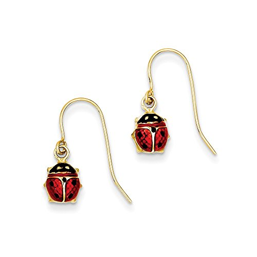 14kt Yellow Gold Enameled Ladybug Dangle Earrings ()