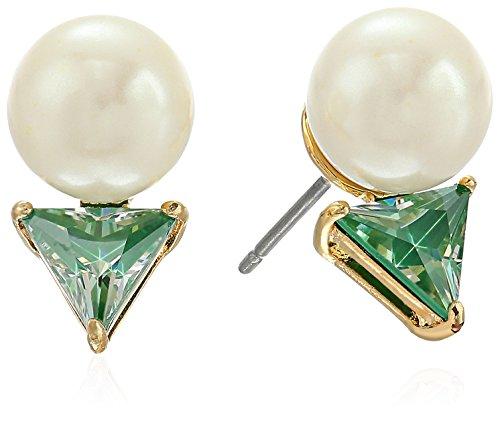 kate spade new york Triangle Pearl Green Stud Earrings