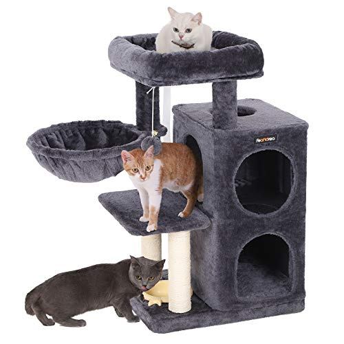 FEANDREA SONGMICS Multi-Level Cat Tree with Feeder Bowl, Sisal-Covered Scratching Posts, Dual Condo, Activity Centre Cat Tower Furniture, Smoky Grey UPCT57G