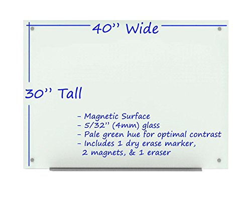 Wall Mounted Glass Board with Marker Tray, Dry Erase Marker, Eraser and Two Magnets (40'' x 30'', White)