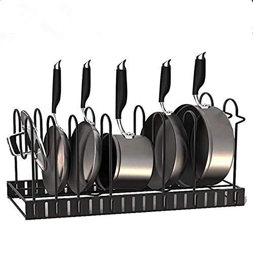 Pan Rack Organizer - Adjustable 8 Pots Holder - Kitchen Cabinet Pantry Pot Lid Holder
