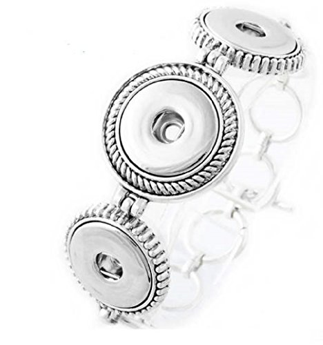 My Prime Gifts Interchangeable Snap Jewelry Silver Toggle Triple Bracelet Antique Style 18-20mm