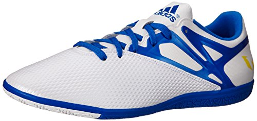 (adidas Performance Men's Messi 15.3 Indoor Soccer Shoe, White/Prime Blue S12/Core Black, 12 M US)