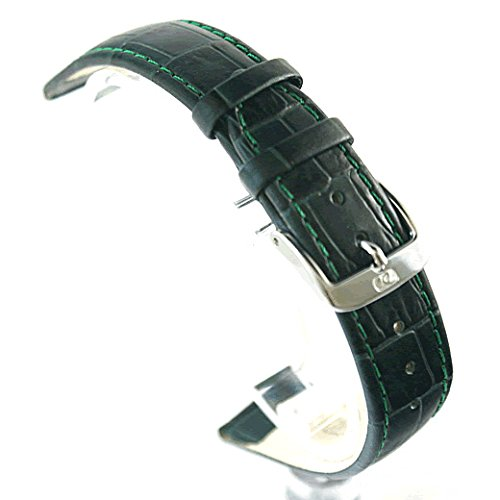 Di Modell Bali Alligator Pattern Dark Green Leather Watch Strap : 12mm, 14mm, 16mm, 18mm, 20mm (18mm Gold)