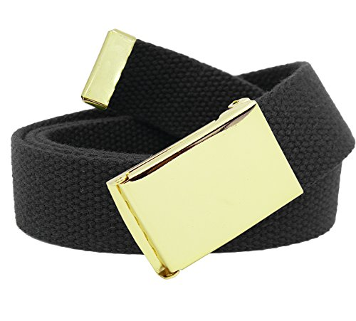 Men's Gold Military Flip Top Belt Buckle with Canvas Web Belt XX-Large Black