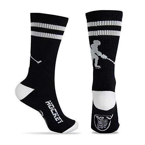 ChalkTalkSPORTS Hockey Half Cushioned Crew Socks | Hockey Player | Black/White