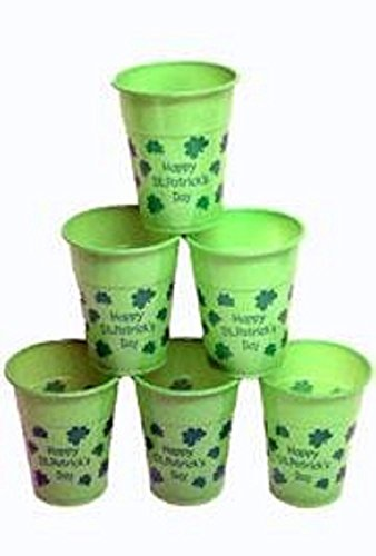 St Patrick's, Thin Plastic and Disposable St Pats Day Cups, 16 oz, 50 piece Bag.