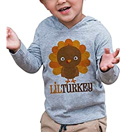 7 ate 9 Apparel Baby Boy's Lil Turkey Thanksgiving Hoodie