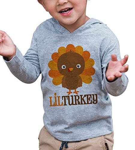 7 ate 9 Apparel Boy's Lil Turkey Thanksgiving Hoodie 2T Grey