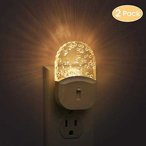 Bubble Night Light Plug in, DORESshop Dimmable Decorative Night Light, Dusk to Dawn Sensor LED Acrylic Nightlight, Adjustable Brightness from 0-50LM, 0.5W Soft White 3000K for Bedroom, Hallway, 2 Pack
