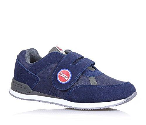 COLMAR - Chaussure bleue en suède et tissu, avec fermeture en velcro, logo sur la languette et sur la fermeture, Garçons, Garçon