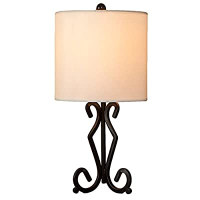 IKEBANA 17 Inches Vintage Black Base Bedside Table Lamp, Round Table Lamps For Living Room Bedroom