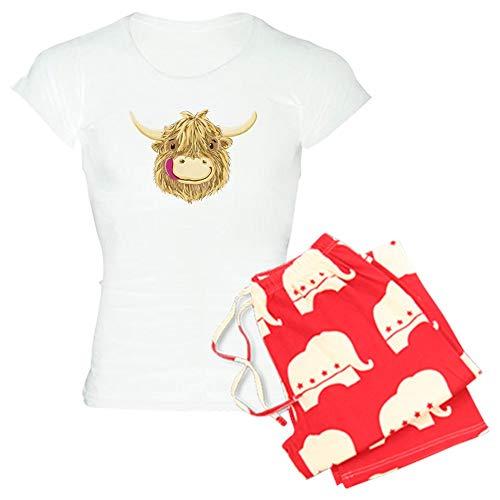 Pant Highland Plaid Ladies (CafePress Happy Scottish Highland Cow Pajamas Womens Novelty Cotton Pajama Set, Comfortable PJ Sleepwear)