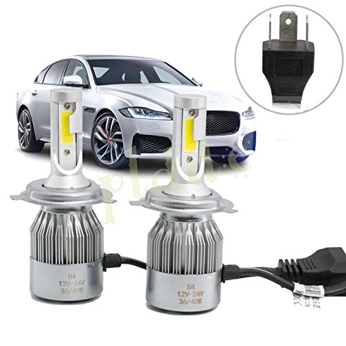 (PLDDE 2pcs H4/9003/HB2 6000K Cool White 7200LM All-in-One LED COB Bulbs Conversion Kit For Headlights High Low Beam Driving Fog Light DC 12V/24V IP67 Waterproof Pack of 2 Driver+Passenger Replacement)