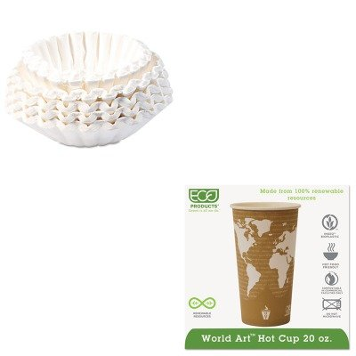 KITBUN1M5002ECOEPBHC20WA - Value Kit - ECO-PRODUCTS,INC. World Art Renewable Resource Compostable Hot Drink Cups (ECOEPBHC20WA) and Bunn Coffee Commercial Coffee Filters (BUN1M5002)
