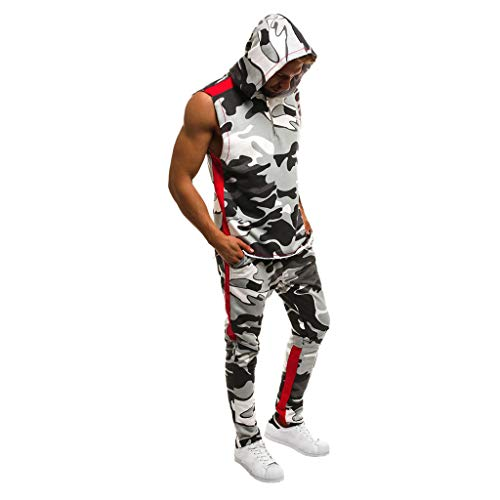 Men Tracksuit Set Camo Sweatsuit Slim Tracksuit Sports Patchwork Sweatshirt Sleeveless Hoodies Tops Pants Suit (White, XL)