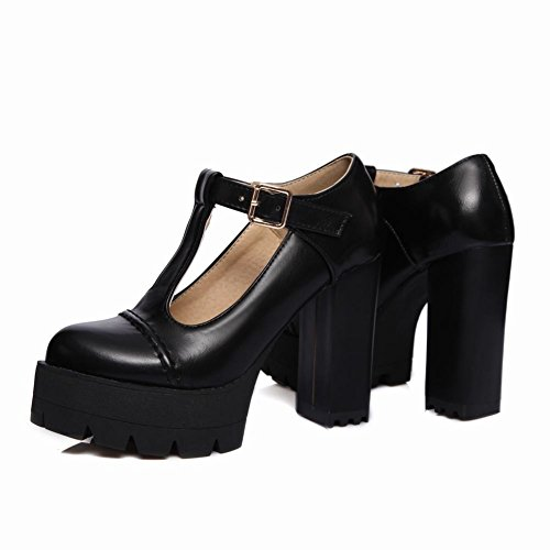 Carolbar Women's Sweet Lovely T-Strap Block High Heel Platform Court Shoes Black aDDext5K